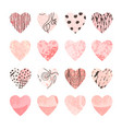 colorful set with hearts shape for valentine day vector image