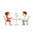 cute couple sitting at table drinking tea vector image vector image