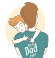 Father and son hugging Hand drawn style greeting vector image vector image