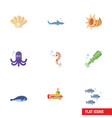 flat icon marine set of tuna hippocampus conch vector image vector image