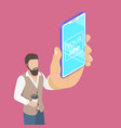 flat isometric concept of mobile app launch vector image vector image