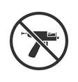 forbidden sign with piercing gun glyph icon vector image vector image