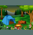 forest camping concept with blue tent vector image