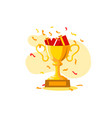 golden goblet for winners vector image