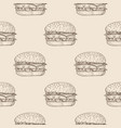 hamburger seamless pattern hand drawn sketch on vector image