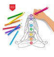 hand drawing meditating woman and chakras vector image vector image