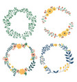 hand drawn design of colorful floral wreaths vector image vector image