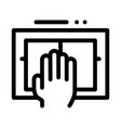 hand scanning icon outline vector image vector image