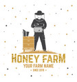 honey bee farm badge concept for shirt vector image
