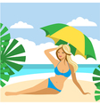 Hot girl on a beach under umbrella vector image vector image