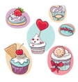 isolated set of cupcake on white vector image vector image