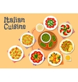 Italian cuisine healthy dishes for dinner icon vector image vector image