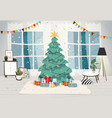 living room interior decorated for christmas vector image