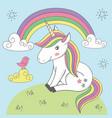 magic unicorn and bird under rainbow vector image