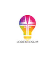 people church light bulb shape logo design vector image vector image