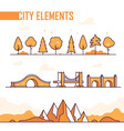set city elements - modern isolated vector image