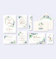 set floral wedding invitation card rsvp vector image vector image