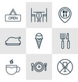 set of 9 food icons includes board dining room vector image vector image