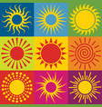 set of different sun icons vector image vector image