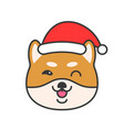 shiba inu emoticon filled outline design vector image vector image