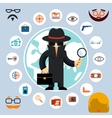 Spy with accessories icons vector image vector image