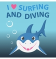 Surfing and diving summer theme with little vector image vector image