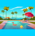 swimming pool in hotel or resort outdoors summer vector image