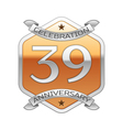 Thirty nine years anniversary celebration silver vector image vector image