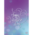 Valentines Card Happy Valentines Day Purple Blue vector image