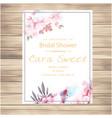 wedding invitation pink floral vanilla colour back vector image