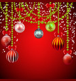 christmas red background with decorations vector image