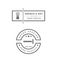 barber shop set of two emblems in monochrome vector image