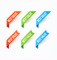 best value label set modern corner banner vector image