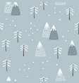 christmas seamless pattern cute winter landscape vector image vector image