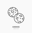 cookie biscuit flat logo line icon sweet food vector image vector image