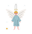 cute angel christmas tree toy new year decorative vector image vector image
