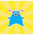 Cute cartoon blue monster Card vector image vector image
