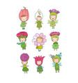 cute cartoon flower fairies forest gnomes vector image