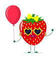 cute strawberry cartoon character sunglasses vector image vector image