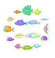 different fish icons set cartoon style vector image