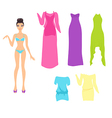 Dress up doll with an assortment of summer dresses vector image