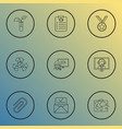 education icons line style set with admission vector image