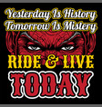 eyesride live today yesterday is history hand vector image vector image