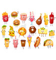 fast food cartoon characters burgers and drinks vector image vector image