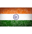 Flags India with broken glass texture vector image vector image
