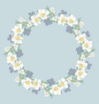 floral round pattern on blue background vector image vector image