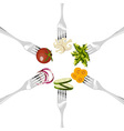 Forks with vegetables circle vector image
