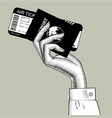 hand stewardess with passport and air ticket