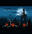 happy halloween pumpkin in the cemetery black vector image vector image