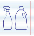 household chemical bottles sign navy line vector image vector image